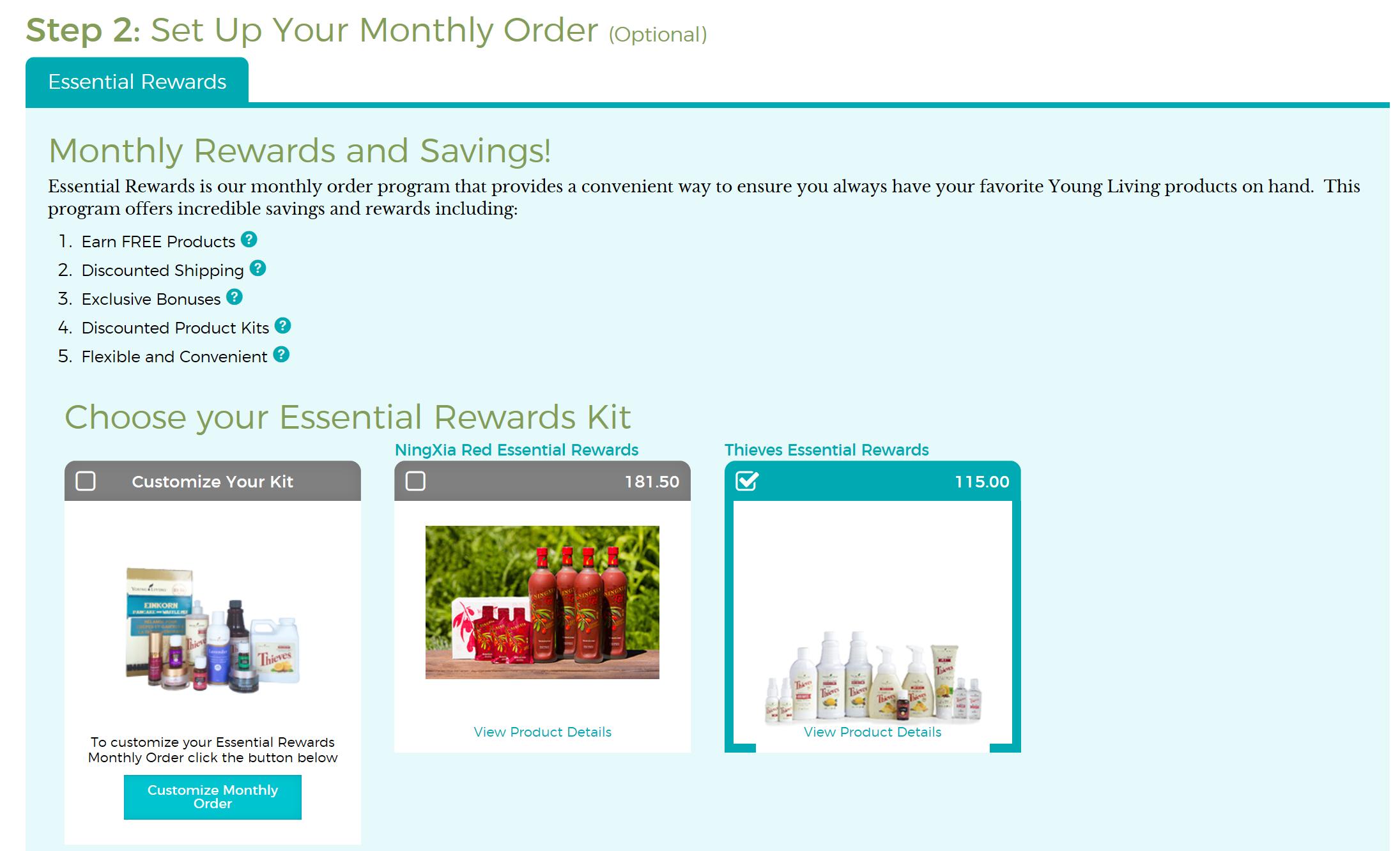 Essential Oils - Setup Monthly Order